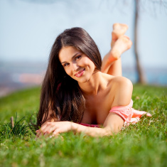 Satisfied woman stock photo