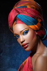 black woman with bright colourful make-up stock photo