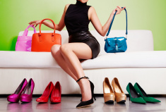 Colorful shoes and bags with woman. Shopping fashion images. stock photo